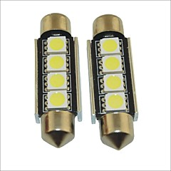 Carking™ 12V 2PCS 5050-4SMD-41MM Car Festoon Interior Light Rome Lamp White Light