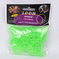 Miss ROSE®600PCS Luminous Green Rainbow Color Loom Style Fun Loom Band(1Pack S Clip)