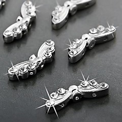 aleación de incrustaciones de diamantes de imitación espaciador rebordea los accesorios en forma de mariposa k blanco (10 piezas)