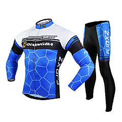 FJQXZ Men's Long Sleeve Cycling Jersey + Tights 3D Slim Cut Geometry Wearable Cycling Suit Black/Blue/White