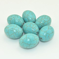 Toonykelly®23MM*16MM Natural Green Oval Turquoise DIY Beads 10Pc/Bag