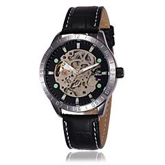 Shenhua Män Skeleton Leather Mechanical Watch