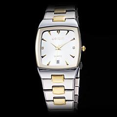 メンズ高級平方ダイヤルスチールバンドクオーツ腕時計(アソートカラー)