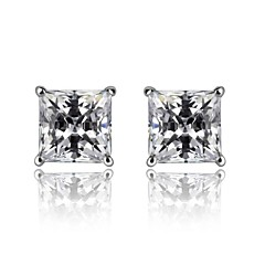 Fine Jewelry 925 Sterling Silver Zircon Earring Stud 1 Pair