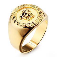 famosa ouro 18k jóia anel banhado dos homens de aço inoxidável