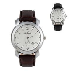fasjonable menn 40mm runde oppringning vanntett hvite pekeren lær watchband armbåndsur (1pc) (assorterte farger)
