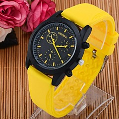 Masculino Relógio Esportivo Quartz Silicone Banda Preta / Branco / Azul / Laranja / Rosa / Amarelo marca-