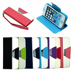 Leather Wallet Case Flip Leather Stand Cover with Card Holder for  iPhone 5/5S (Assorted Colors)