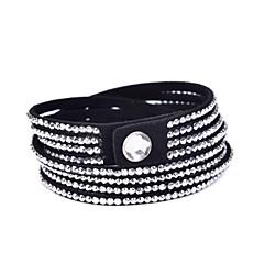 40mm 4 Rows Stone Set Velvet Long Bracelet