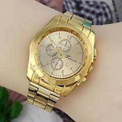 moderigtige mænd 45mm runde dial rustfrit stål urrem armbåndsure guld (1 stk) en stil