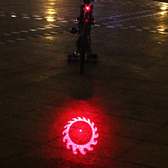 UNGROL 1 Red Flame Wheels Design Multifunctional 1 Laser Module+6 LED 6 Flash Mode Black Bike Warning Laser Light
