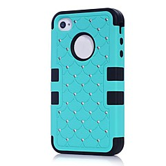 2014 New 3 in 1 Combo Hybrid Case Glitter/bling Studded Diamond Dual Layer Pc&silicone Protective Case for iPhone 4/4s