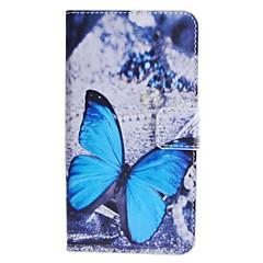 motif papillon bleu étui en cuir PU avec support et une carte slot pour HTC Desire 510