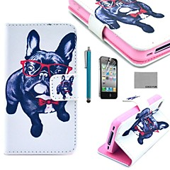 COCO FUN® Glasses Dog Pattern PU Leather Full Body Case with Screen Protector, Stand and Stylus for iPhone 4/4S