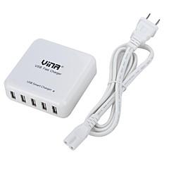 vina® bærbar sikkerhet smart 40W 8a 5-port mobiltelefon tablett usb rask lader for iphone6 / ipad air2 (oss plugg)