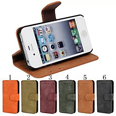 Frosted Material PU Leather Full Body Case with Card Slot, Stand and Strap for iPhone 4/4S  (Assorted Color)