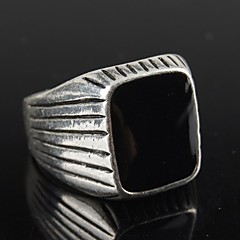 Vintage Contracted Silver Alloy Black Resin Men's Ring Christmas Gifts
