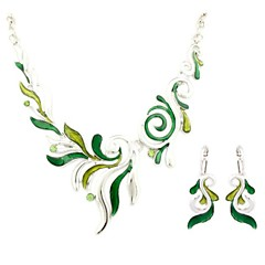 Leaves Shape  Vintage Jewelry Sets (Necklaces&Earrings)(Red,Black,Purple,Green)