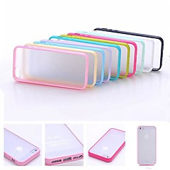 DF Multi-Color Soft TPU Frame Gel Translucent Scrub PC Hard Back Case for iPhone 5/5S(Assorted Color)