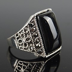 Vintage Punk Silver Alloy Black Resin Men's Ring