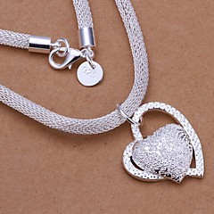 Creative Heart-Shaped 925 Sliver Frosted Pendent Thick Chain Necklace (1Pc)