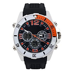 orologio sportivo quadrante rotondo degli uomini cinturino in PU display a led al quarzo giapponese orologio da polso impermeabile orologio da polso
