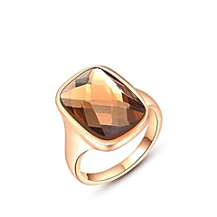 Noble 18K Rose/White Gold Plated Jewelry Use Shining Austria Crystal Champagne Gold Zircon Diamond Ring