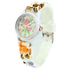 dammode färgstarka blommönster silikonband quartz armbandsur