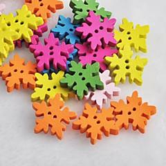 colorido do floco de neve em forma de recados scraft costura botões de madeira diy (10 peças de cor aleatória)