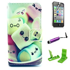 Cartoon Cotton Candy Pattern PU Leather Case with Screen Protector and Stylus for iPhone 4/4S