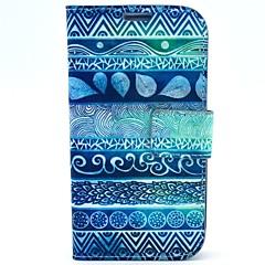 niebieskie kwiaty wzór linii papilarnych z etui ze skóry PU i gniazda kart do Samsung s4 i9500