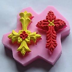 Double-cross Leaves Shaped Fondant Cake Chocolate Silicone Mold