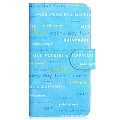 Text and Blue Days Pattern PU Mobile Phone Holster With Card Slot for iPhone 4/4S