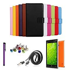 Ultra Slim feste Tasche aus echtem Leder mit Film, Datenleitung, Staubstecker und Stylus für Nokia Lumia 930 (verschiedene Farben)