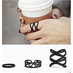 (3PC) European Black matte winding  Alloy Midi Rings(Black)