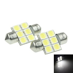 31mm (sv8.5-8) 3w 6x 5054smd 180-220lm 6000-6500k lumière blanche Ampoule LED pour voiture lampe de lecture 1 paire (dc12-16v)