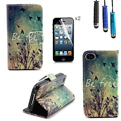 Fall Pattern PU Leather Cover with Card Slot with Touch Pen and Protective Film 2 Pcs for iPhone 4/4s