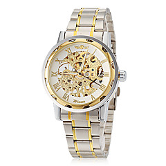 Men's Elegant Skeleton Hollow Dial Steel Band Mechanical Hand Wind Wrist Watch (Assorted Colors)