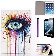 diagramme de l'œil d'encre graffiti étui en cuir PU avec protecteur d'écran et un stylet pour iPad mini-3/2/1