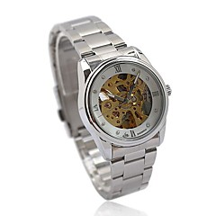 Women's Auto-Mechanical Gold Skeleton Steel Band Wrist Watch
