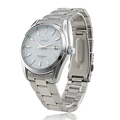CJIABA Men's Auto Mechanical Dress Style Silver Steel Band Wrist Watch