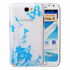 Blue Butterfly Pattern PC Brushed Case for Samsung Galaxy Note 2 N7100
