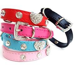 Γάτες / Σκυλιά Κολάρα Στρας Κόκκινο / Μαύρο / Μπλε / Ροζ / Τριανταφυλλί PU Δέρμα