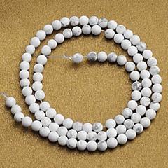 (90pcs) rund turkos pärlor vita