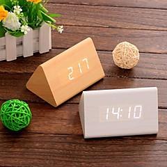 digital kalender termometer tid ledde ljudkontroll trä väckarklocka (vit&khaki&svart, 3 * aaa)