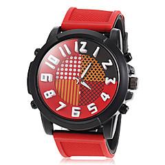 grande relógio redondo silicone com ligação de banda quartzo moda masculina (cores sortidas)