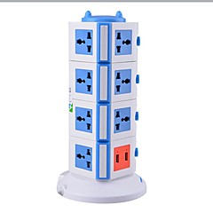 overbelastningsbeskyttelse 5v / 2.1a 4 sal med 15 universelle udgange og 2 usb os adapter strømskinner