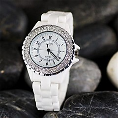 Womens'  Fashion  Ceramic luxury diamond quartz watch  Circular High quality Japanese watch movement