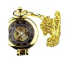 Hombre Reloj de Bolsillo Cuerda Manual Huecograbado Aleación Banda Cosecha Dorado Marca-