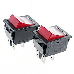 4-pin διακόπτες διακόπτη rocker με δείκτη κόκκινου φωτός (2τμχ)